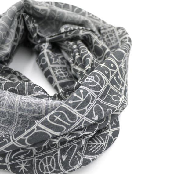 Infinity scarf dark grey and white, Trulli original graphic, wool viscose