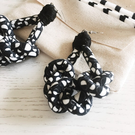 """Knots fabric earrings, black and white aerrings, handmade textile earring, """"Bubbles"""" graphic"""