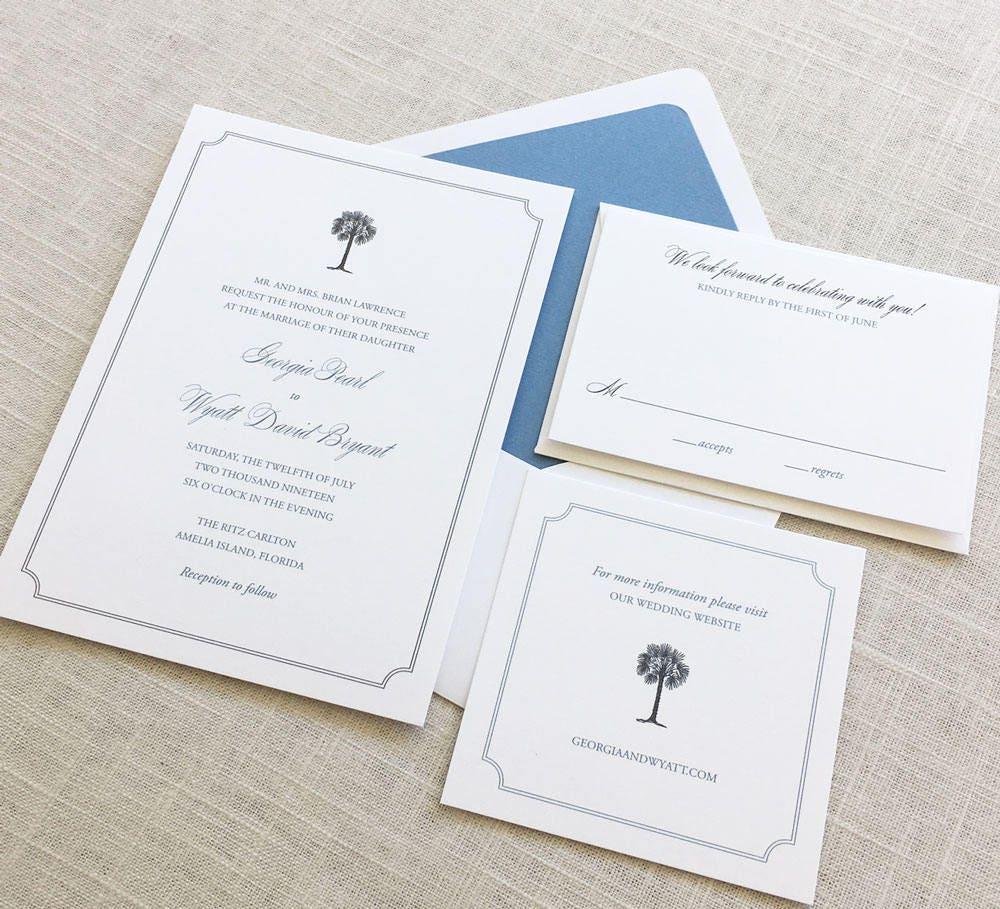 Palmetto Tree Wedding Invitations South Carolina Wedding