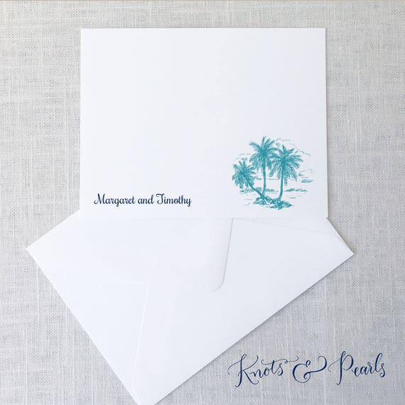 palm tree stationery palm tree note cards beach thank you etsy