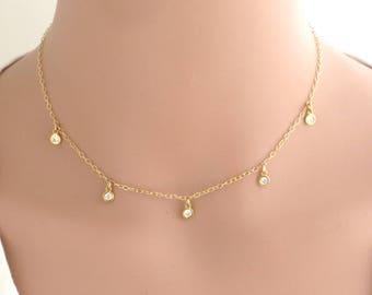 03538d92c05f6 Cz station necklace | Etsy