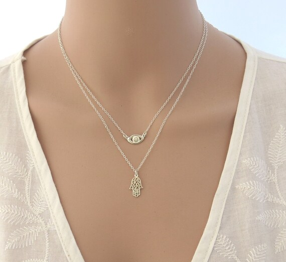 Silver Evil Eye & Hamsa Necklace , Double Layers Silver Necklace , Hamsa Necklace , Evil Eye Silver Necklace , Boho Jewelry by Etsy