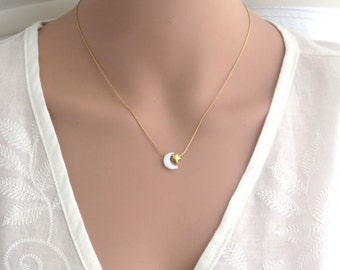 Moon and star necklace , moon and star gold filled necklace , opal moon necklace , opal star necklace , white opal necklace , tiny star,