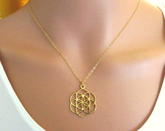 Seed of Life necklace, good luck charm necklace, flower of life necklace,gold filled mandala, sacred geometry, kabbalah necklace