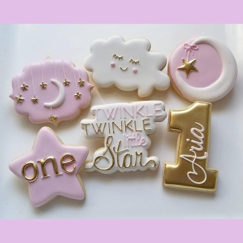 ad116ee48 1 DOZEN Decorated Cookies - Custom Cookies Twinkle Twinkle Little Star 1st  Birthday Baby Shower First Rattle Onesies Bottle Moon