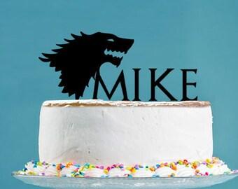 Game Of Thrones Stark Cake Topper Birthday Party Decor Acrylic Rabbit T