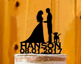 Customize Cake Topper with Dog, Mr. & Mrs. Last  Name Cake Topper, Bride and Groom Wedding Cake Topper, Wedding Cake Topper - AT243