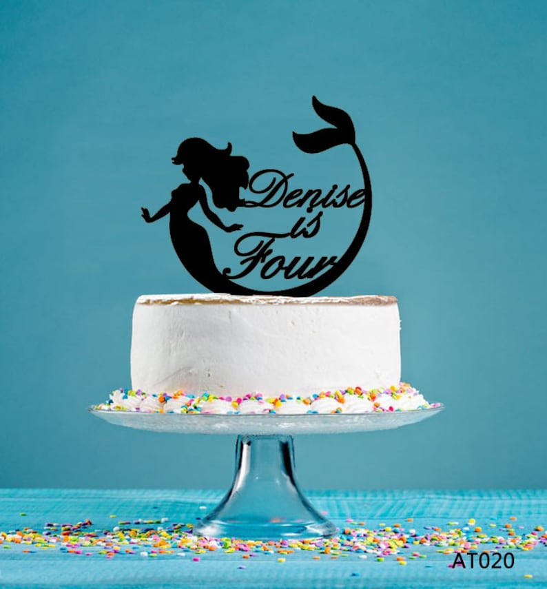 Birthday Cake Topper Personalized Cake Topper AT020 Little Mermaid Cake Topper Acrylic Cake Topper Party Decor Topper