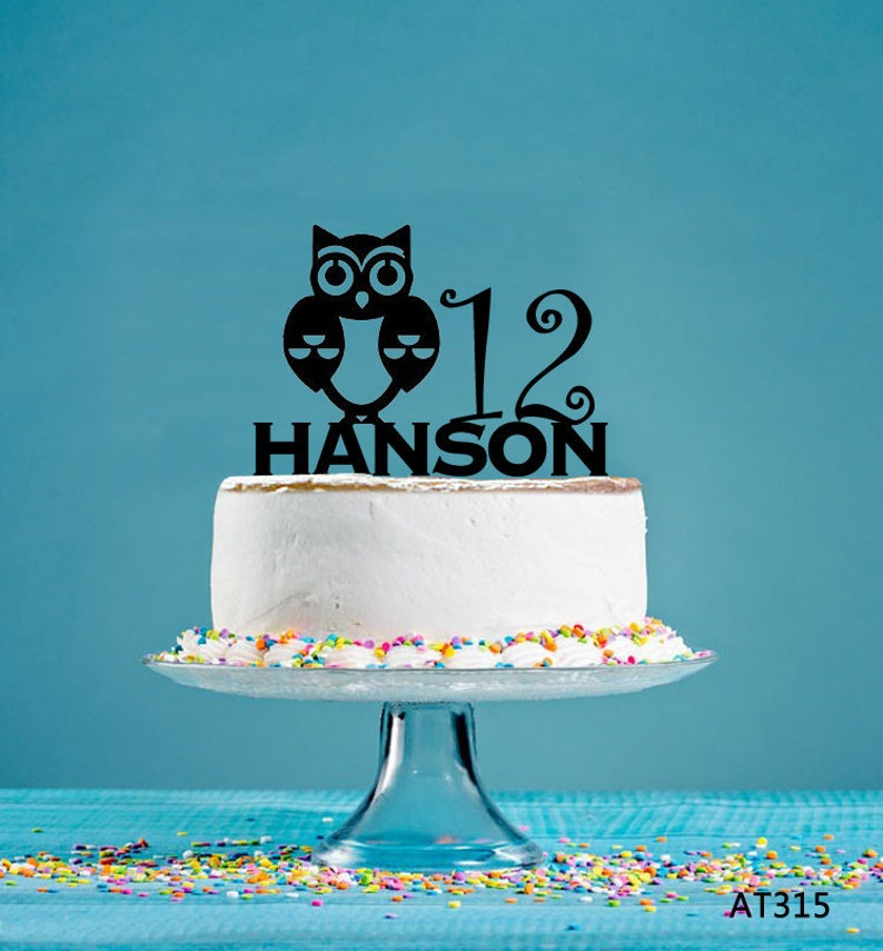 Owl Birthday Cake Topper Personalized