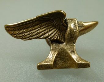 Cast Bronze Novelty Pins-Winged Anvil