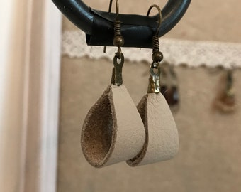 Cream Leather Stirrup Earrings