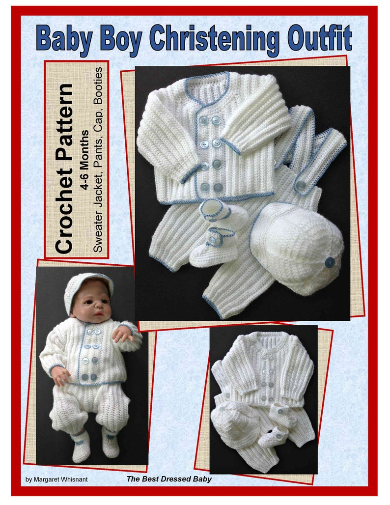 ee9f42a0b Baby Boy Christening Outfit Crochet Pattern Sweater Jacket | Etsy