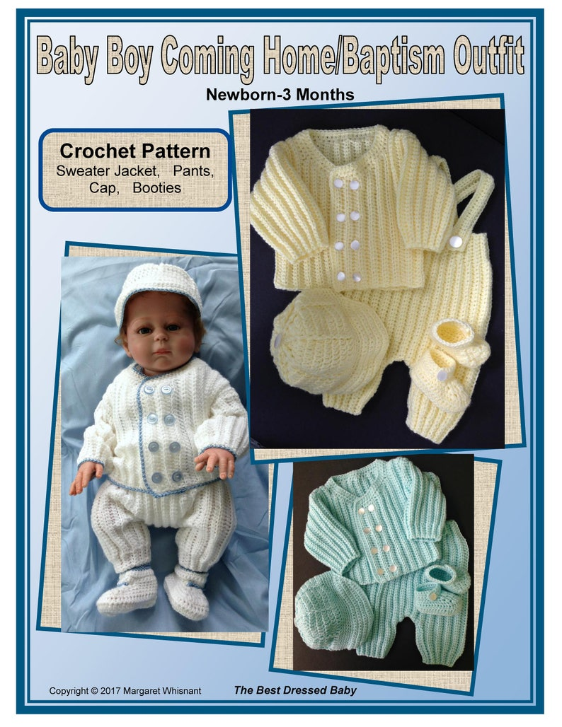 e99f26106 Baby Boy Coming Home/Baptism Outfit Crochet Pattern | Etsy
