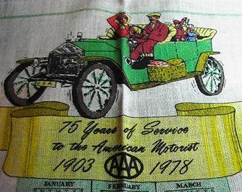Vintage 1978 Calendar Tea Towel, West Penn Motor Club, 1978 Kitchen Towel, Retro Tea Towel, Calendar Towel
