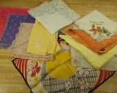 Vintage Lot of 10 Assorted Handkerchiefs Sheer Nylon and Silk Hankies