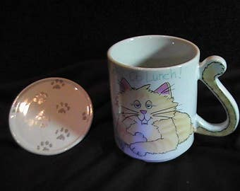 Vintage 1989 Cat Mug with Cover/Coaster, Lets Do Lunch, Novelty Mug, Ceramic Coffee Mug, Retro 80's, Collectible Mug, Made in Japan