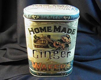 Vintage Homemade Ginger Wafers Tin by Daher, Made in England