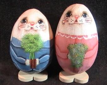 Vintage Handpainted Paper Mache Eggs, Bunny Couple Theme, Figural Bunnies, Folk Art Signed, Easter Folk Art, Easter decor, Folk Art Decor