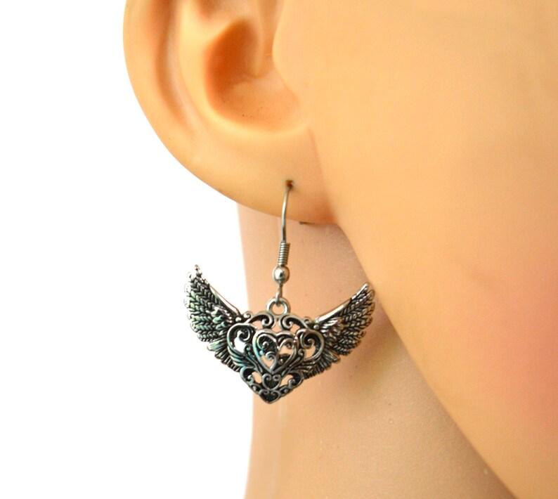 Sterling Silver Drop Earring 26mm w// CZ Amethyst #65093
