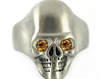 Brushed Finish Skull Ring Imitation Topaz Eyes Solid Inside