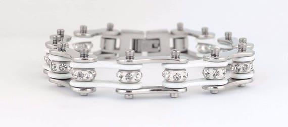 Ladies Motorcycle Stainless Steel Gold Tone Crystal Bike Chain Bracelet