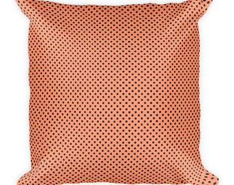 Melon pillow, Square Pillow, Light orange pillow, Square polka dot pillow.