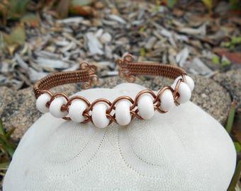 Wire Wrap Cuff Lampwork Bead Cuff Bracelet