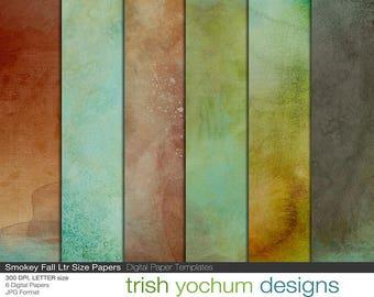 Watercolor Digital Paper - Watercolour earthy scrapbook, colored Fall backgrounds, Digital Scrapbooking, Printable, 8.5x11, Instant Download