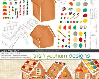 Christmas Clipart - Christmas Gingerbread House Digital clipart - PNGs Photoshop - Holiday Christmas - Make Your Own ClipArt