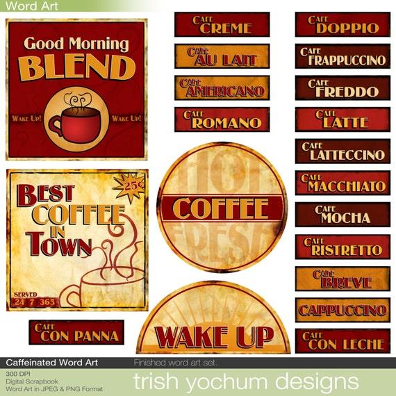 Coffee Word Art Digital Java Clipart Words Scrapbook Quotes Etsy
