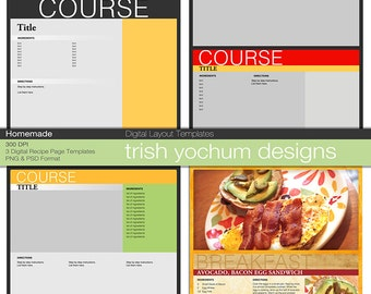 Recipe Page Templates - Cookbook Template Pages Photoshop PSD 12x12 - PNG files - Digital - Instant Download