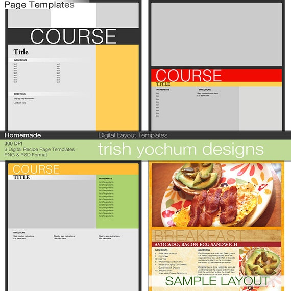 Recipe Page Templates Cookbook Template Pages Photoshop Psd Etsy