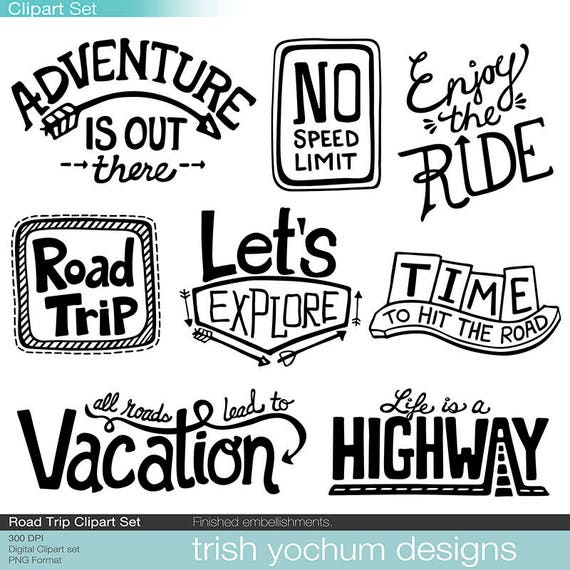 Road Trip Clipart Digital Adventure Outdoor Vacation