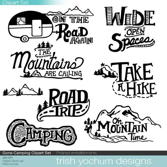 Berg Clipart Digital Camping Outdoor Abenteuer Cliparts Etsy