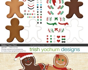 Gingerbread Man Digital Clipart - Christmas PNGs Photoshop - Holiday Christmas - Make Your Own Digital Scrapbook ClipArt - Instant Download