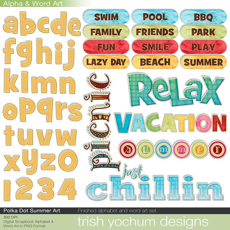 Summer Word Art Digital Summer Clipart Alphabet Scrapbook Etsy