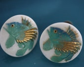 Japanese Vintage Porcelain Toshikane Fish Screw Back Earrings
