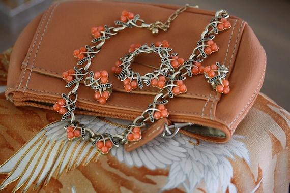 Kramer Vintage Tangerine Orange Moonstone Choker,