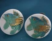 Japanese Vintage Porcelain Toshikane Fish Screw Back Earrings