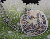 Reed Barton Vintage Asian Damascene Pendant Necklace