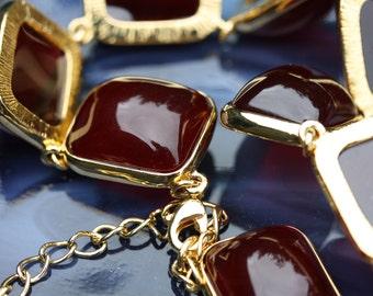 Vintage Kenneth Jay Lane Red Art Glass Gum Drop Necklace