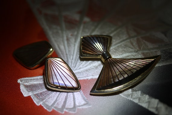 Pearlescent Modernist Clip on Earrings and Brooch
