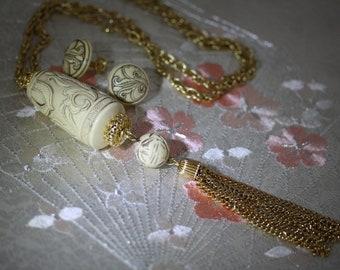 Vintage Crown Trifari Asian Carved Ivory Look Demi Parure
