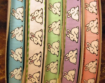 """5 Yards Easter Bunny Rabbit White Brown Twill Ribbon 7//8/""""W"""