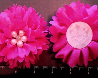 Shocking pink flower etsy 1 each 4 shocking pink ballerina fabric flower with a faux pearl and rhinestone center hair bow embellishment mightylinksfo