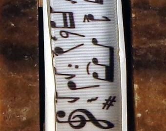 "2 Yards 7/8"" Music Note Print Grosgrain Ribbon"