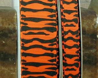 "2 Yards 3/8"" or 7/8"" Orange Zebra Print Grosgrain Ribbon - US Designer"