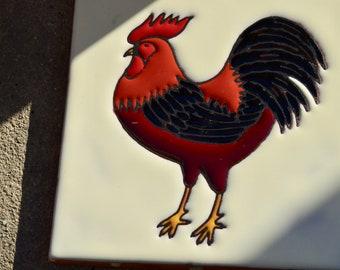 Dal Monte Ceramic Tiles Black Rooster Lot 2 Trivet Decor Monterrey Mexico