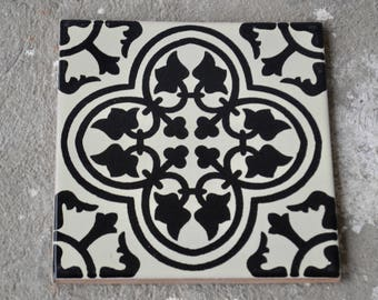 Mexican Tile X Etsy - Black and white talavera tile