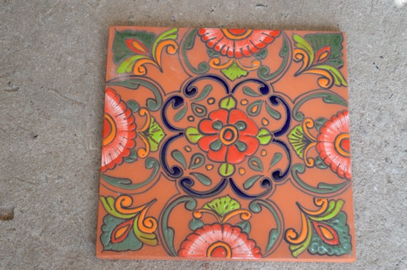 Mexican talavera tiles cm cm each